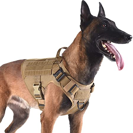 """ICEFANG Tactical Dog Harness with 2X Metal Buckle,Dog Walking Training MOLLE Vest with Handle,No Pulling Front Leash Clip,Hook and Loop for Dog Patch (L (28""""-35"""" Girth), Coyote Brown)"""