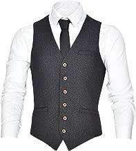VOBOOM Men's V-Neck Suit Vest Casual Slim Fit Dress 6 Button Vest Waistcoat