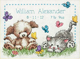 Dimensions 70-73883 Pet Friends Birth Record, Counted Cross Stitch