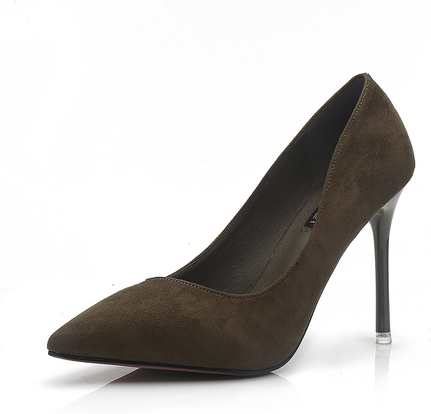 RUGAI-UE Pumps Fashion All-Match Pointed shoes Suede shoes High Heels Shallow Mouth Waterproof