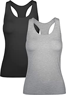 H HIAMIGOS Women Racerback Tank Tops with Built in Bra Removable Pad Yoga Workout Activewear Running Gym Exercise Shirts