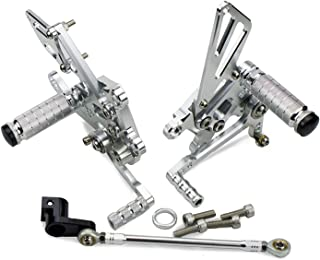 Motorcycle Adjustable Rearset Footrest Rear Foot Pegs Rests For Aprilia Rsv4 Factory 2009 2010 2011 2012 2013 2014 2015 2016 (Silver)