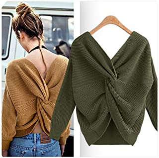 Retro V Neck Twisted Back Sweater Women Jumpers Autumn Pullovers Casual Tops Long Sleeve Knitted Sweaters