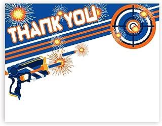 POP parties Dart Gun Thank You Cards - 20 Cards + 20 Envelopes - Dart War Party Thank You Cards - Made in The USA