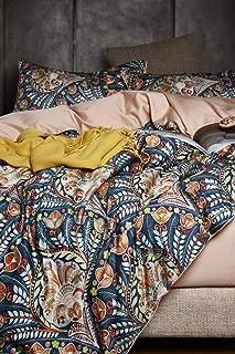 Eikei Home Damask Medallion Luxury Duvet Quilt Cover Boho Paisley Print Bedding Set 400 Thread Count Egyptian Cotton Sateen Vibrant Bohemian Pattern (King, Blue Orange)
