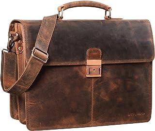 """STILORD Apolonius"""" Arbeitstasche Herren Leder Vintage Aktentasche Umhängetasche Dokumententasche A4 15,6 Zoll Laptop Tasche für Büro Business Echtleder, Farbe:Sepia - braun"""