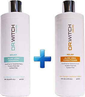 Scalp Relief Hair Growth Shampoo - Conditioner Set Organic Ingredients for Sensitive Dry Itchy Scalp Hair Loss - Sulfate Free Vegan pH balanced - Safe for Color and Keratin Treated Hair (16 oz Set)