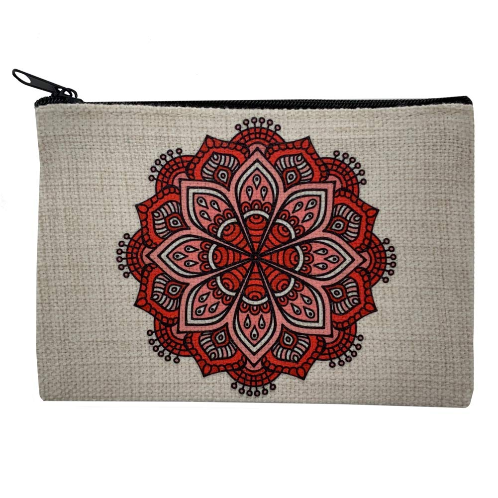 Over item handling ☆ Red Mandala Linen Small Zippered Max 45% OFF Purse Coin Bag Makeup Cosmetic