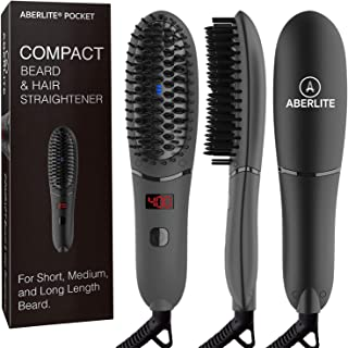 Aberlite Pocket - Compact Beard Straightener for Men - For Short Beard & Long Beard - Beard Straightening Heat Brush Comb Ionic - For Home and Travel