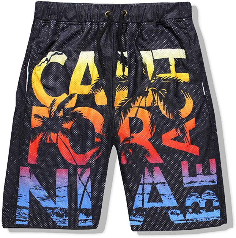 Hattfart Men Swim Trunks Drawstring Elastic Waist Surfing Beach Board Shorts With Mesh Lining