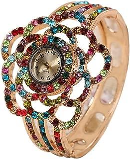 Colorido Women Full Rhinestone Hollow Flower Bangle Style Analog Wrist Watch
