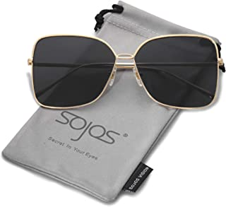 711fb922b2 SOJOS Fashion Oversized Square Sunglasses for Women Flat Mirrored Lens  SJ1082