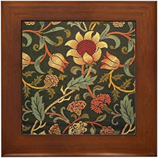CafePress William Morris Evenlode Framed Tile, Decorative Tile Wall Hanging