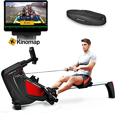 Sportstech Máquina de Remo RSX500 Smartphone Control, App de Fitness, 12 programas Remo + 4 cardíaca, 16 Niveles Resistencia,Modo competición, Cinta de Pulso incluida - con Kinomap