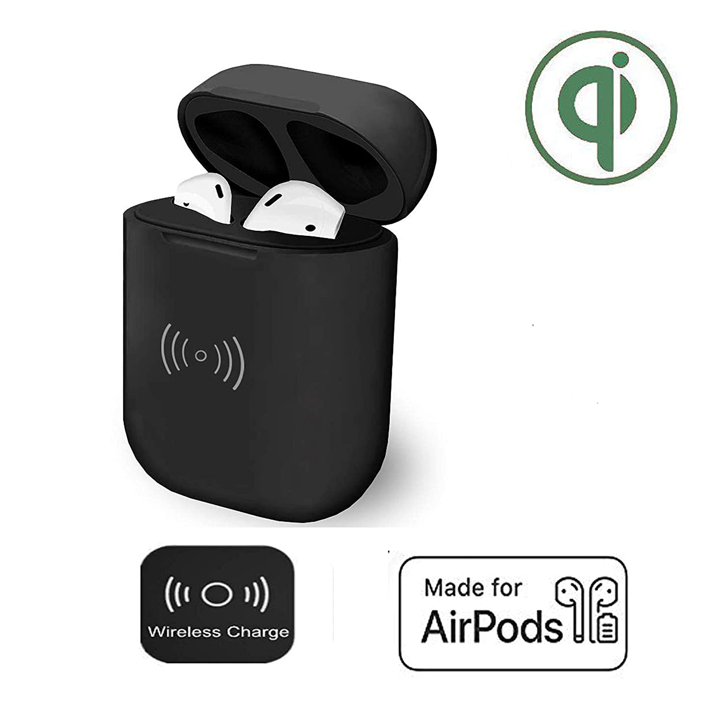 POWVAN Wireless Charging Case Replacement of Ai pods Charger Case, Fast Charging Built-in Batteries Supply 24 Hours Power Compatible with AirPodst (Black)