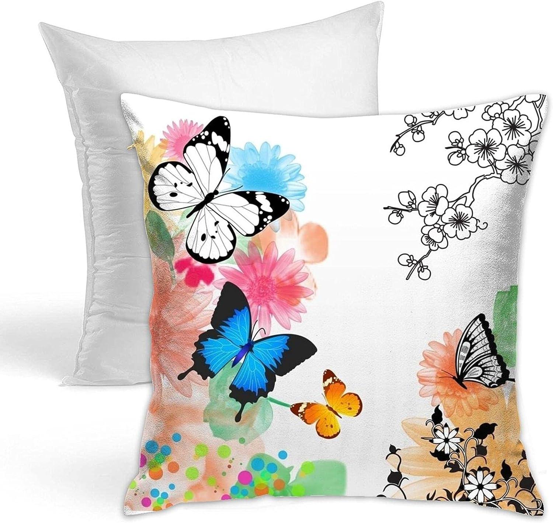 Butterfly Printed Pillow Including Core Hidden Max 78% OFF Zipper Luxury goods