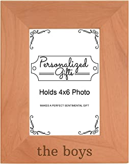 Personalized Gifts Brothers Gift The Boys Father Son Gift Natural Wood Engraved 4x6 Portrait Picture Frame Wood