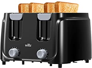 Willz 4-Slice Extra Wide Slot Toaster with Shade Selector, Auto Shut-off and Cancel Functions, Hinged Crumb Tray, Black