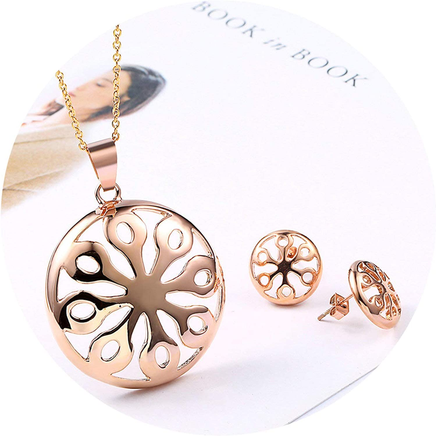 Daesar Stainless Steel Ladies Necklaces and Earrings Set Jewelry for Women Necklace Pendant Noria Women Necklace Earrings Set