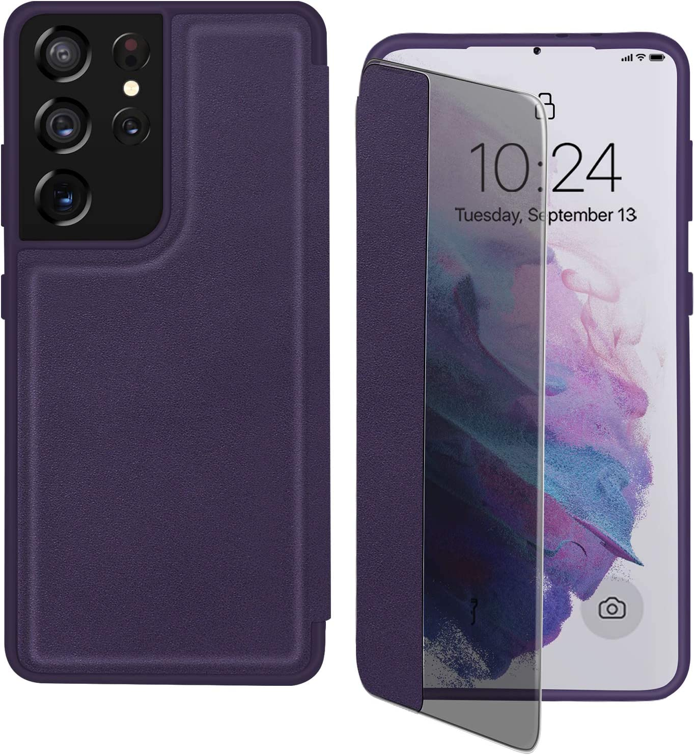 """FYY Phone Case for Samsung Galaxy S21 Ultra 5G 6.8"""", Magnetic Slim Flip Case Drop Protection Shockproof Protective Cover with Window View Function for Samsung Galaxy S21 Ultra 6.8 inch Purple"""