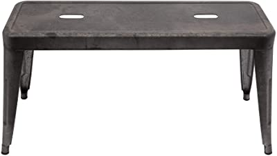 Creative Co-Op Grey & Brown Galvanized Metal Bench, Grey