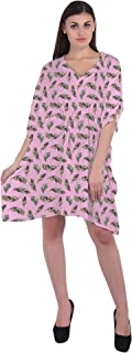 RADANYA Feather Printed Women's Casual wear Cotton Kaftans Swimsuit Cover up Caftan Beach Short Dress