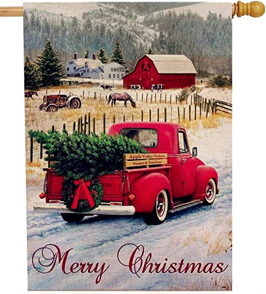 Dyrenson Merry Christmas 28 X 40 House Flag Red Truck Double Sided Xmas Farmhouse Quote Burlap Garden Yard Decoration Rustic Winter Vintage Seasonal Outdoor D Cor Decorative Large Flag For Holiday