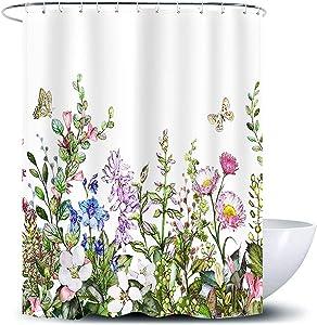 D&M Wild Flower Shower Curtain Floral Green Leaves Rustic Herb Blossom Vintage Garden Bath Curtain Nature Grass Botanical Bathroom Bathtub Decor Curtain Polyester Fabric 72x72 Inch with 12 Shower Hook