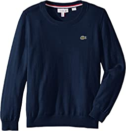 8cb0019128e3 Lacoste mouline jersey jacquard wool blend sweater with stripes on ...