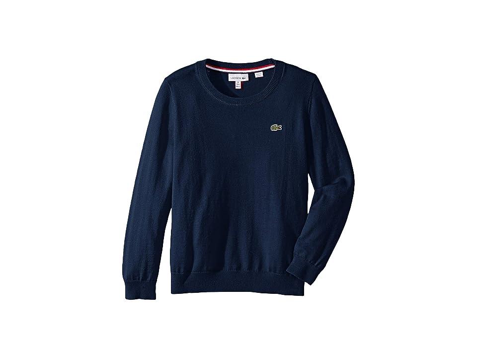 Lacoste Kids Long Sleeve Crewneck Sweater (Toddler/Little Kids/Big Kids) (Sailor Chine) Boy