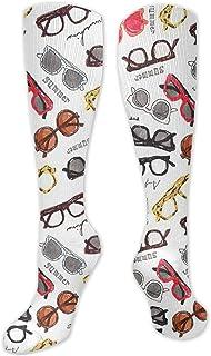 ~ Retro Eyeglasses Compression Socks for Women Men is Best Graduated Athletic, Running, Flight,Travel,Nurses