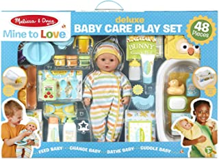 Melissa & Doug Mine to Love Deluxe Baby Care Play Set (48Piece – Doll + Accessories to Feed, Bathe, Change, & Cuddle)