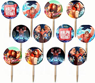 Party Over Here Wreck It Ralph 2 Cupcake Picks Double-Sided Images Cake Topper -12, Ralph Breaks The Internet