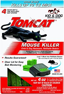 Tomcat Mouse Killer Child & Dog Resistant Refillable Station, Includes 1 Station with 4, 1-oz. Baits - Use Indoors & Outdoors to Kill Mice