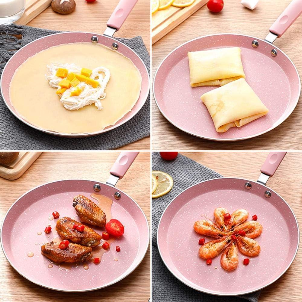 6/8/10 Pouces crêpe crêpe Plaque chauffante poêle en Alliage d'aluminium antiadhésif omelettes poêle à Oeufs avec Silicone, Rose 6 8 10 Pouces Ensemble Pink 6 8 10 Inch Set