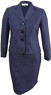 Women's Petite Three-Button Tweed Skirt Suit