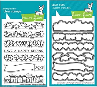 """Lawn Fawn Simply Celebrate Spring 4""""x6"""" Clear Stamps and Matching Lawn Cuts Die Set (LF1896, LF1897), Bundle of Two Items"""