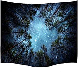 Sunkax Wall Hanging Tapestry Starry Sky Milky Way Tapestry Forest Tapestry with Forest 3D Printing for Bedroom Dorm Decor