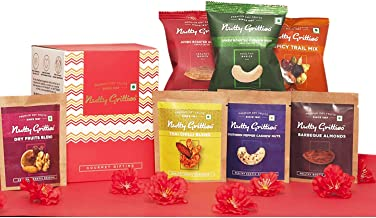 Nutty Gritties Mixed Dry Fruits Nuts - Variety of 7 Flavoured Nuts On The Go Gift Box - 159G (Vegan, Gluten Free, Oil Free...