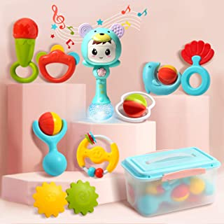 CUTE STONE Baby Rattles Teethers Set, Electronic Rattle Shaker with Light and Music, Grab, Spin Rattles, Musical Toy Set with Bonus Storage Box, Early Educational Toy Gift for Newborn Baby Toddler