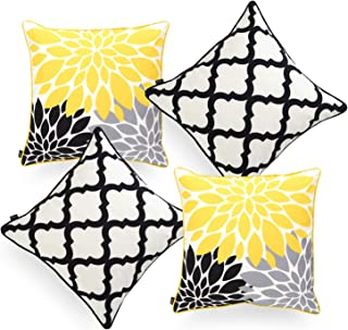 "Hofdeco Indoor Outdoor Pillow Cover ONLY, Water Resistant for Patio Lounge Sofa, Yellow Gray Black Floral Moroccan, 18""x18..."