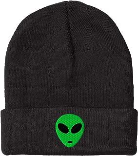 Green Alien Head Embroidered Pom Pom Beanie, 12 inch