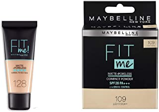 MAYBELLINE combo of Fit me foundation warm nude 128 and fit me compact light ivory 109