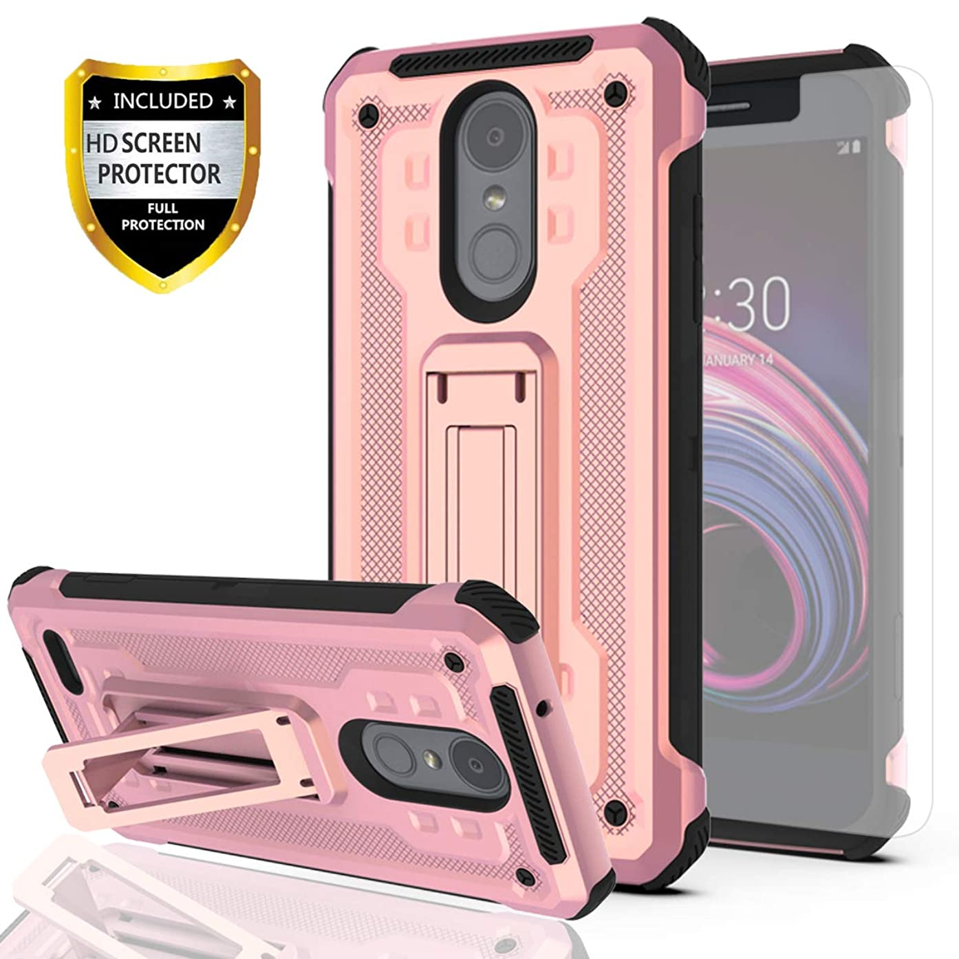 LG Aristo 2 Case, LG Aristo 3/Aristo 2 Plus/Fortune 2/Risio 3/Zone 4 Case with HD Screen Protector,YmhxcY Cellphone Holder 2in1 Scratch Resistant Drop Protective for LG X210-JW Rose Gold