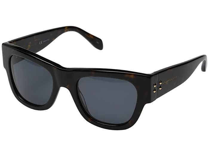 Alexander McQueen  AM0033S (Dark Havana/Smoke) Fashion Sunglasses