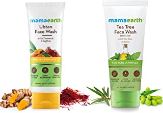 Mamaearth Ubtan Natural Face Wash with Turmeric & Saffron + Tea Tree Face Wash, 100 ml Each (Combo pack of 2)