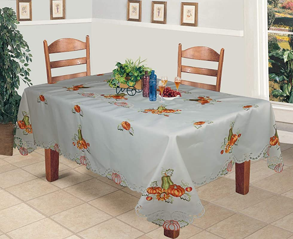 Creative Linens Fall Autumn Harvest Thanksgiving Tablecloth Embroidered Cutwork Pumpkin Sunflower Table Cloth 70x104 Rectangular With 12 Napkins Ivory