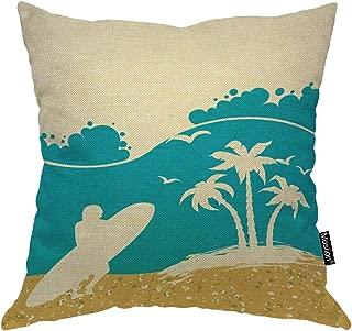Moslion Beach Pillows Summer Beach Palm Tree Ocean Waves Seagull Surfing in Sea Throw Pillow Cover Decorative Square Cushion Canvas Cotton Linen Home Pillow Case 18X18 Inch Blue Yellow