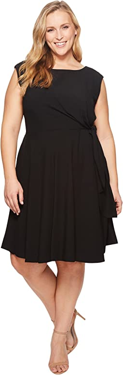 Plus Size Sleeveless Stretch Crepe Side Tie Shift