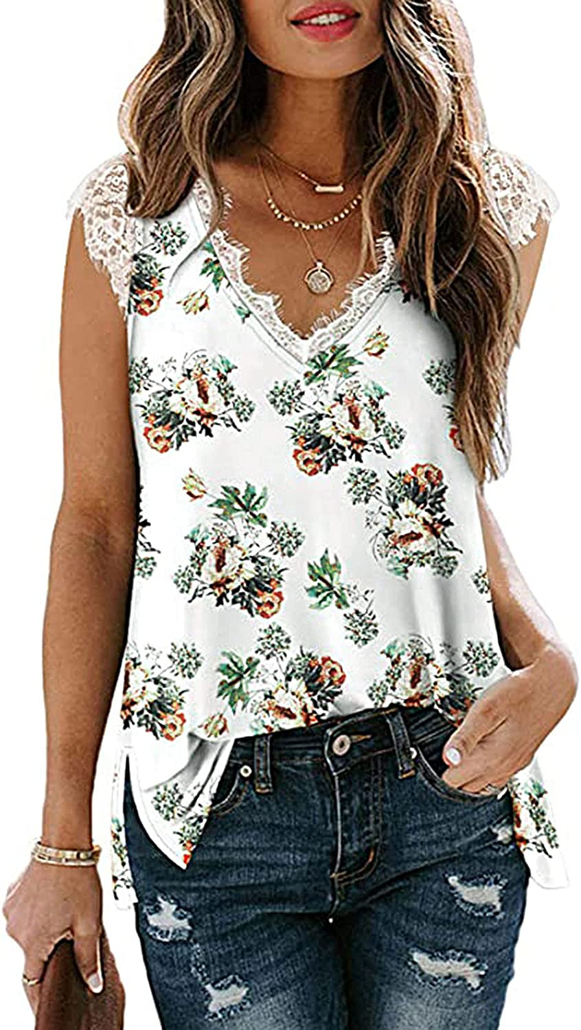 Summer Tops for Women Sexy Casual,Women's V Neck Lace Trim Cami Tops Fashion Elegant Summer T Shirts